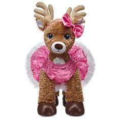 Pink Sequin Reindeer Dress & Bow Set for Stuffed Animals Build A Bear Reindeer, Custom Teddy Bear, Bright Pink Dresses, Reno, Pink Sequin, Dress With Bow, Fur Trim, Sequins, Bows