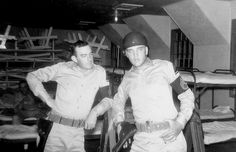 """William """"Nervous"""" Norvell and Elvis on guard duty at Ford Hood, TX, May 1958"""