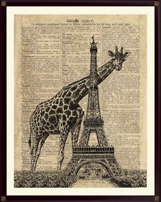 Eiffelturm Giraffe digital antiked Buttenpapier von PrintLand auf DaWanda.com