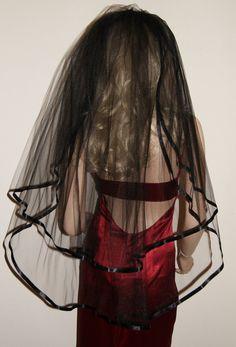 Wedding Veil Gothic Black Red Purple Veil by GothiXXbyElena, $32.99