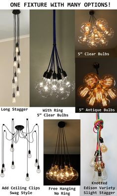 7 Cluster Custom Any Colors   Chandelier Multi Pendant Lighting Modern  Rainbow Cloth Cords Industrial Pendant Light Ceiling Fixture Lamp