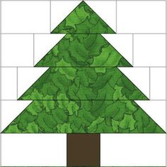 """10"""" Christmas Tree Quilt Block Pattern: Use the tree quilt block to make Christmas trees, or any other time you need a patchwork tree."""