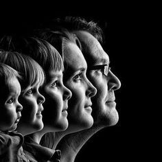 Familie portret in zwart-wit
