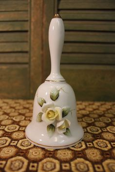 Ceramic Bell with Yellow Roses Vintage by TheRunningRooster