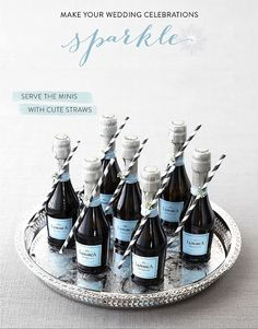 Adorable mini prosecco bottles with striped straws attached: bachelorette or bridal shower White Bridal Shower, Gold Bridal Showers, Bridal Shower Party, Mini Prosecco Bottles, Mini Bottles, Minis, Something Blue Bridal, Wedding Favours, Party Favors