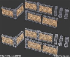 3d models Brick Wall Set Low poly 01