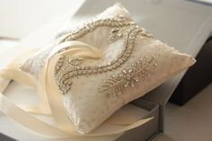 embellished ivory ring bearer pillow