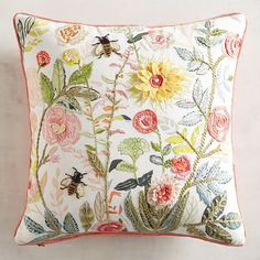 Springtime decorative pastel floral pillow - peach on reverse side - flowers & bees throw pillow - Embroidered pillow Cushion Embroidery, Embroidery Patterns, Hand Embroidery, Custom Pillows, Decorative Throw Pillows, Cushion Cover Designs, Floral Pillows, Embroidered Pillows, Pastel Floral
