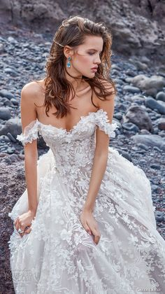 galia lahav gala 2018 bridal off the shoulder sweetheart neckline full embellishment romantic a line wedding dress chapel train (2) zv -- Gala by Galia Lahav Collection No. 5 Wedding Dresses