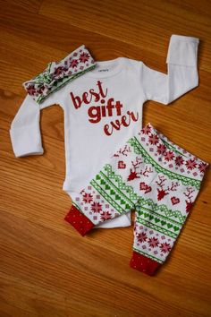 Baby girl going home set - Best gift ever theme - coming home set, baby shower gift, coming home outfit new baby christmas outfit
