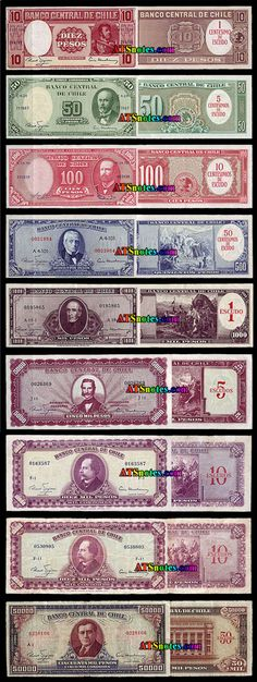 Chile banknotes - Chile paper money catalog and Chilean currency history Catalog, Infographic, Coins, Design, Amor, War Of The Pacific, Beautiful Places, Historical Photos, Coining