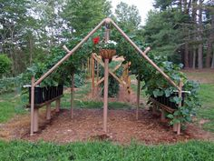 Trellis gardening, direct sun plants on outside, shaded plants on the inside --even doubles as a playhouse.  How to create this PVC cucumber  trellis.