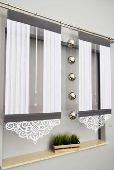 Hit panel toscania ii z ażurem + kryształ - Curtains Home Curtains, Curtains With Blinds, Kitchen Curtains, Elegant Curtains, Modern Curtains, Wooden Front Door Design, Curtain Designs, Curtain Patterns, Maila