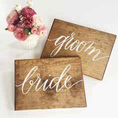 Brides & Groom Wood Signs by Laura Hooper Calligraphy