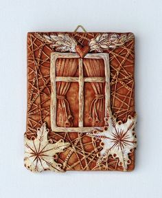 My Angelic Window or Christmas in July handmade sculpture Clay Tile Relief by Tanya Besedina