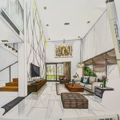 Home interior design, house drawing, house design drawing, room perspective drawing, Interior Architecture Drawing, Interior Design Renderings, Drawing Interior, Interior Rendering, Interior Sketch, Architecture Design, Architecture Definition, Building Architecture, Architecture Portfolio