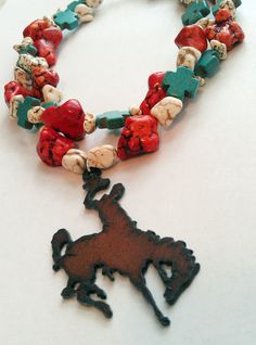 I just love this!  Cowgirl Necklace  Double Strand Turquoise w/ by SilverBitJewelry