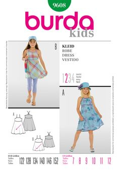 Burda Style Kids B9608 - Great summer dress for fashionable girls. The highly set bell-shaped skirt, with its diagonal cut falls with particular swing. The edging strips of the cutout edges become straps.