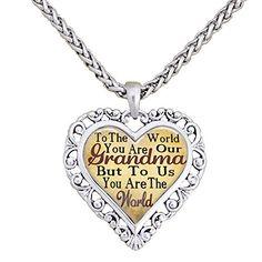 Grandma You Are The World To Us Silver Chain Necklace Heart Jewelry Grandmother Sports Accessory Store http://smile.amazon.com/dp/B01AO19334/ref=cm_sw_r_pi_dp_IwAPwb1W6GGZE
