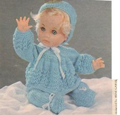 Matinee set, First Love doll pattern from Checkers Value, June 1978 & Value, November Knitting Dolls Clothes, Knitted Dolls, Doll Clothes Patterns, Doll Patterns, Clothing Patterns, Love Knitting Patterns, Knitting Stitches, Tiny Tears Doll, Cloth Flowers