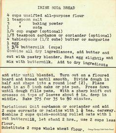 Irish Soda Bread Source by VintageDotRecipes soda bread Irish Recipes, Old Recipes, Cookbook Recipes, Vintage Recipes, Bread Recipes, Cooking Recipes, Recipies, Granny's Recipe, Soda Recipe