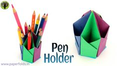 "Origami. Craft tutorial to make a Paper Hexagonal Pen. Pencil Holder. This Video Tutorial teaches you to make a Paper ""Hexagonal Pen Pencil Holder"". This model is quite useful and can be used at your Study table. We can use different Paper sizes"