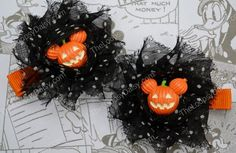 Halloween Mickey Bow Minnie Mouse bow Halloween by TheLoopsyDaisy