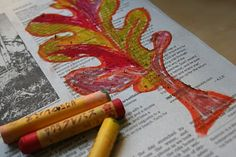 Colorful Fall Leaves With Oil Pastel On Newspaper - pinned by #PediaStaff.  Visit http://ht.ly/63sNt for all our pediatric therapy pins