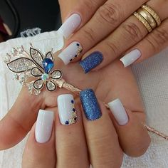26 ideas nails design toe simple for 2019 Chic Nails, Trendy Nails, Cute Acrylic Nails, Glitter Nails, Finger Nail Art, Nail Decorations, Beautiful Nail Art, Blue Nails, Manicure And Pedicure