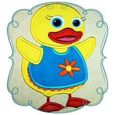"""Quacker Duckling Size : 4.98"""" x 6.93"""" Stitches: 15289   This if for the 5x7 HOOP   The following formats are available: DST, EXP, HUS, JEF, PES, VIP, SEW and XXX Price: $3.00"""