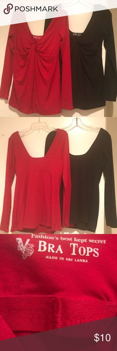 Victoria's Secret Bra Tops Tees Very flattering knotted drape front detail, scooped back with seaming. Great news - no bra required! Originally $30 each. Now buy one for $10 or both for $15 Victoria's Secret Tops Tees - Long Sleeve