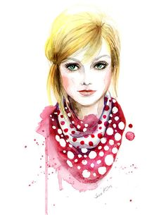 Fashion art print - Watercolor illustration - LV polka dot scarf