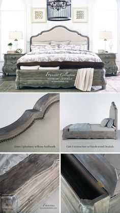 Francene Old World Bedroom Furniture with FRENCH FLAIR in a gray driftwood finish. See this collection at Accents of Salado. www.accentsofsalado.com.