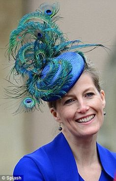 Sophie, Countess of Wessex wore an £860 Jane Taylor Millinery peacock feather headpiece to Easter Service