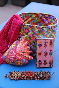 Sacred heart gift basket Perfect for the Nicho and by CasaOtomi,    Mexico, Tenango, mexican wedding, textile, mexican suzani, suzani, embroidery, hand embroidered, otomi, www.casaotomi.com, otomi, table runner, fiber art, mexican, handmade, original, authetic, textile , mexico casa, mexican decor, mexican interior, frida, kahlo, mexican folk,  folk art, mexican house, mexican home, artisan gift basket