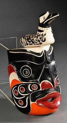 Contemporary Northwest Coast Polychrome Wood Kwakiutl Komokwa Mask, ht. 21 in.
