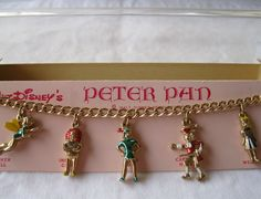 Disney's 1953 Peter Pan Vintage Charm Bracelet Goldtone Excellent Original Box ~ What a Darling Vintage Bracelet for ANY Gal, at ANY Age, who just LOVES Peter Pan, Wendy, Tink, and Others!