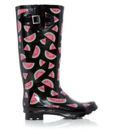 Black Watermelon Print Wellies. https://lookastic.com/women/black-print-rain-boots/shop/new-look-black-watermelon-print-wellies-147252