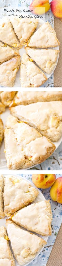 Peach Pie Scones with a Vanilla Glaze: These peaches 'n cream scones taste just like homemade peach pie!  | www.alattefood.com | If you love this, check out this board: https://www.pinterest.com/ALatteFood/a-latte-food-from-the-blog/