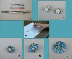 Tutorial by klio1961, via Flickr - this tut starts on page six of this site:  http://www.flickr.com/photos/klio1961/page6/ and is worth looking at because of her color mixes as well as the results of ripple blade cutting. #Polymer #Clay #Tutorial
