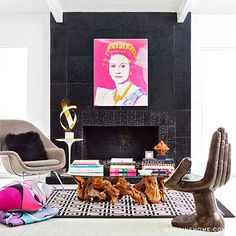 Home Tour: A Fashion Designer\'s Pop Art Palace // Queen Elizabeth II, Pedro Friedeberg, Gucci, Eero Saarinen, Burlwood, fireplace, black fireplace