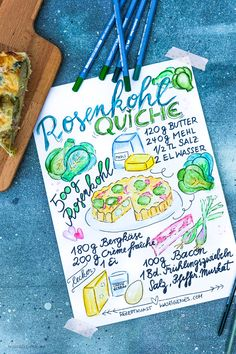 Rezeptkunst | illustriertes Rezept: Rosenkohlquiche von waseigenes.com,  #Aquarell #watercolor Food Design, Blog, Cooking Recipes, Bullet Journal, Health, Diy, Cornelius, Desserts, Pizza