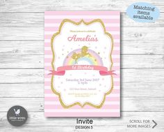 Pink Unicorn Invitation unicorn invite Unicorn rainbow girls birthday party ideas