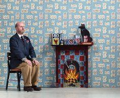 The Darktown Billets-Doux wallpaper by Jonny Hannah - Mid Blue/Yellow Colorful Wallpaper, New Wallpaper, Fabric Wallpaper, Royal College Of Art, Wood Engraving, Love Art, Making Ideas, Printmaking, Art Gallery
