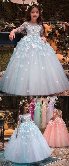 Wedding Dresses Ball Gown, Unique Tulle Bateau Neckline Half Sleeves Ball Gown Flower Girl Dresses With Belt & Bowknot & Beaded Handmade Flowers DressilyMe