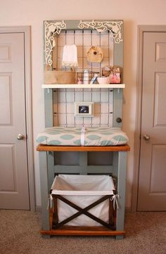 Changing table made from a door