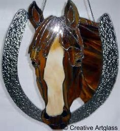Equestrian Stained Glass Horseshoe