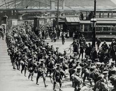 Territorials of the Battalion, Royal Warwickshire Regiment, leaving New Street Station after their recall in 1914 Birmingham City Centre, Birmingham Uk, Local History, Train Station, First World, World War, Paris Skyline, Street View, Pictures