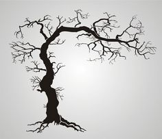 Twisted Tree With Roots Gothic Stencil Design from Stencil Kingdom