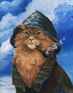 The Fishercat by spocha.deviantart.com on @deviantART Cat Character, Beautiful Cats, Pretty Cats, Cool Cats, I Love Cats, Crazy Cats, Cat Cards, Vintage Cat, Cat People